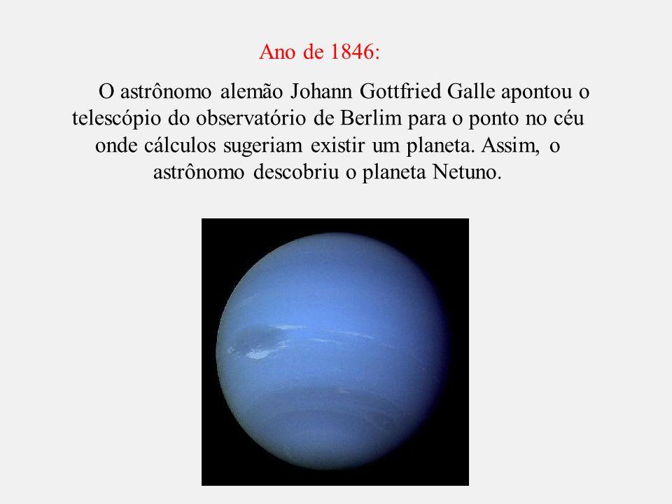 O astrônomo alemão Johann Gottfried Galle apontou o telescópio do observatório de Berlim para o ponto no céu onde cálculos sugeriam existir um planeta