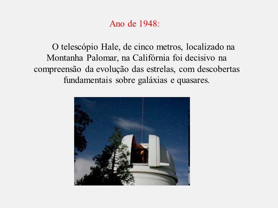 O telescópio Hale, de cinco metros, localizado na Montanha Palomar, na Califórnia foi decisivo na compreensão da evolução das estrelas, com descoberta