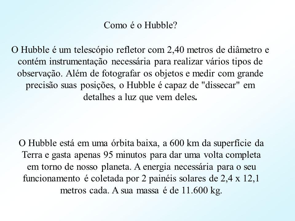 Como é o Hubble? O Hubble é um telescópio refletor com 2,40 metros de diâmetro e contém instrumentação necessária para realizar vários tipos de observ
