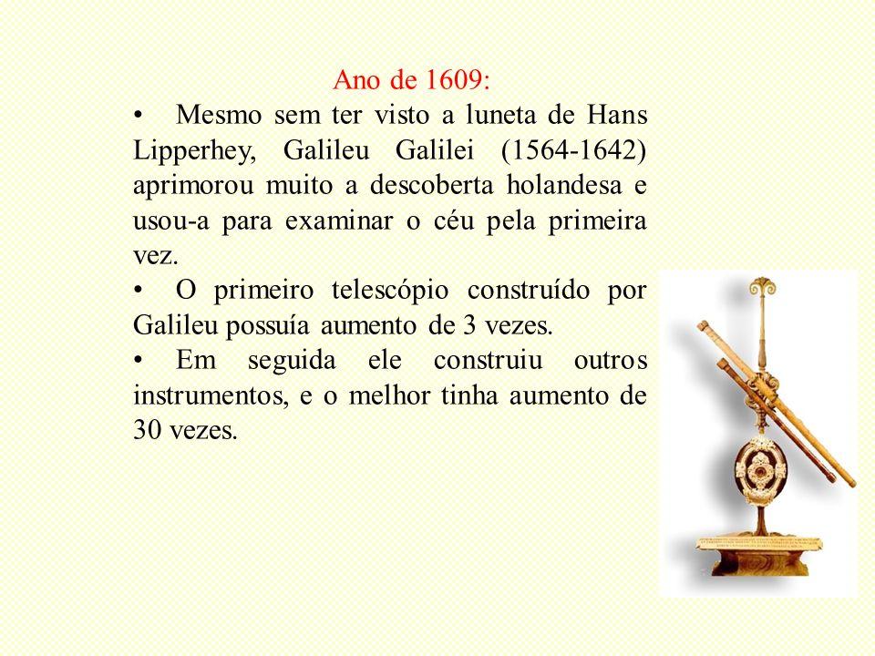 Ano de 1609: Mesmo sem ter visto a luneta de Hans Lipperhey, Galileu Galilei (1564-1642) aprimorou muito a descoberta holandesa e usou-a para examinar