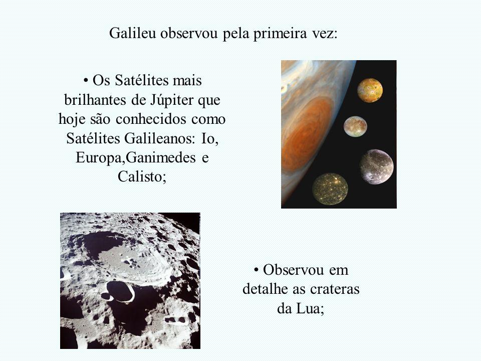 Os Satélites mais brilhantes de Júpiter que hoje são conhecidos como Satélites Galileanos: Io, Europa,Ganimedes e Calisto; Galileu observou pela prime