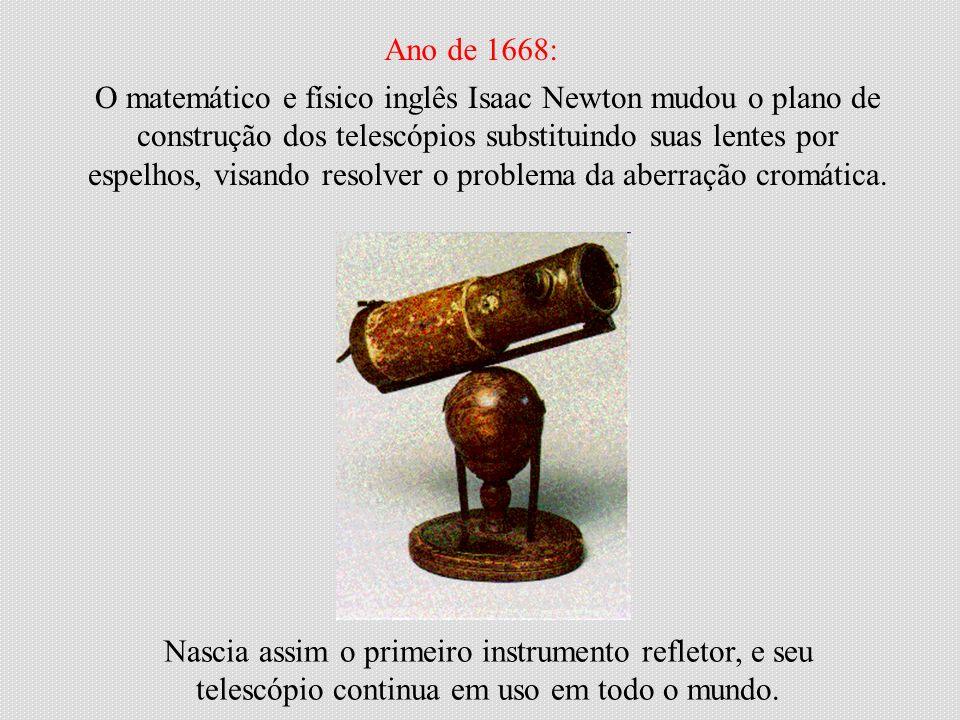 O matemático e físico inglês Isaac Newton mudou o plano de construção dos telescópios substituindo suas lentes por espelhos, visando resolver o proble