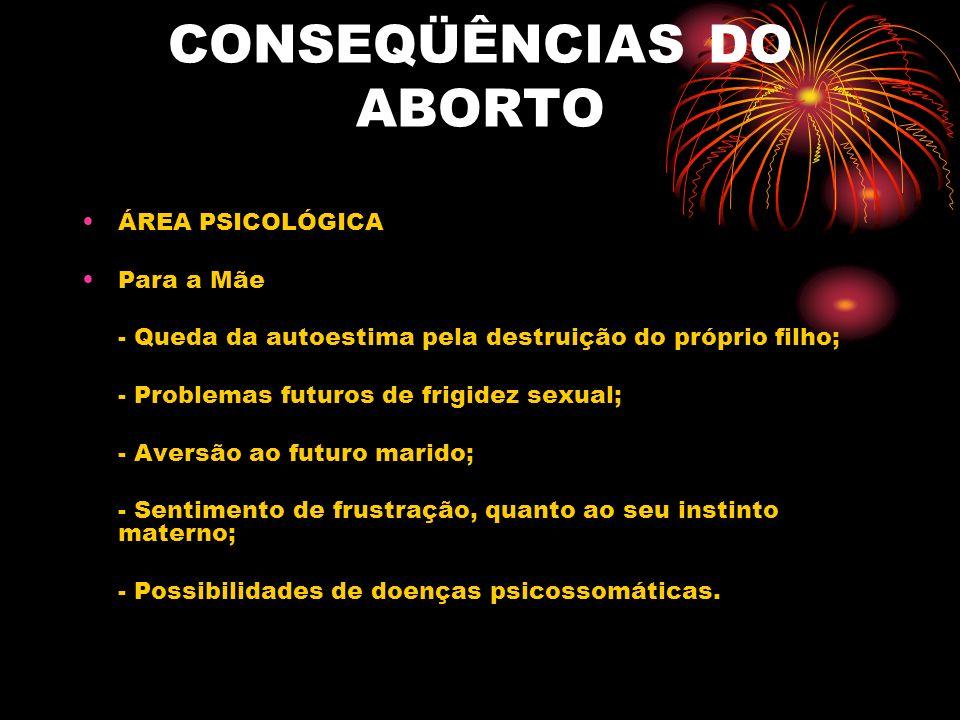 CONSEQÜÊNCIAS DO ABORTO ÁREA PSICOLÓGICA Para os filhos que podem nascer no futuro: Possibilidade de existir um atraso mental, por causa de má formação durante a gravidez, ou nascimento prematuro.