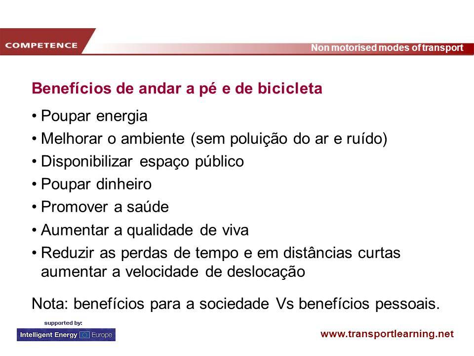 www.transportlearning.net Non motorised modes of transport Semelhanças entre as campanhas Período específico para a sua realização A saúde é usada como argumento chave Registo publico do comportamento durante a campanha