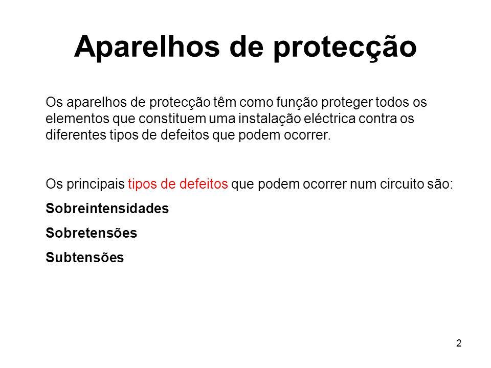 2 Aparelhos de protecção Os aparelhos de protecção têm como função proteger todos os elementos que constituem uma instalação eléctrica contra os difer