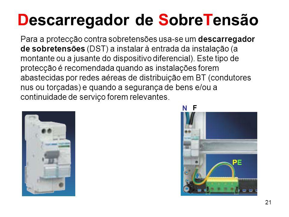 21 Descarregador de SobreTensão Para a protecção contra sobretensões usa-se um descarregador de sobretensões (DST) a instalar à entrada da instalação