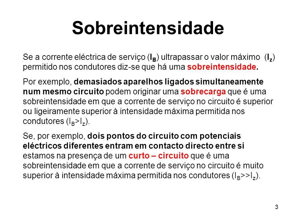 3 Sobreintensidade Se a corrente eléctrica de serviço (I B ) ultrapassar o valor máximo (I z ) permitido nos condutores diz-se que há uma sobreintensi