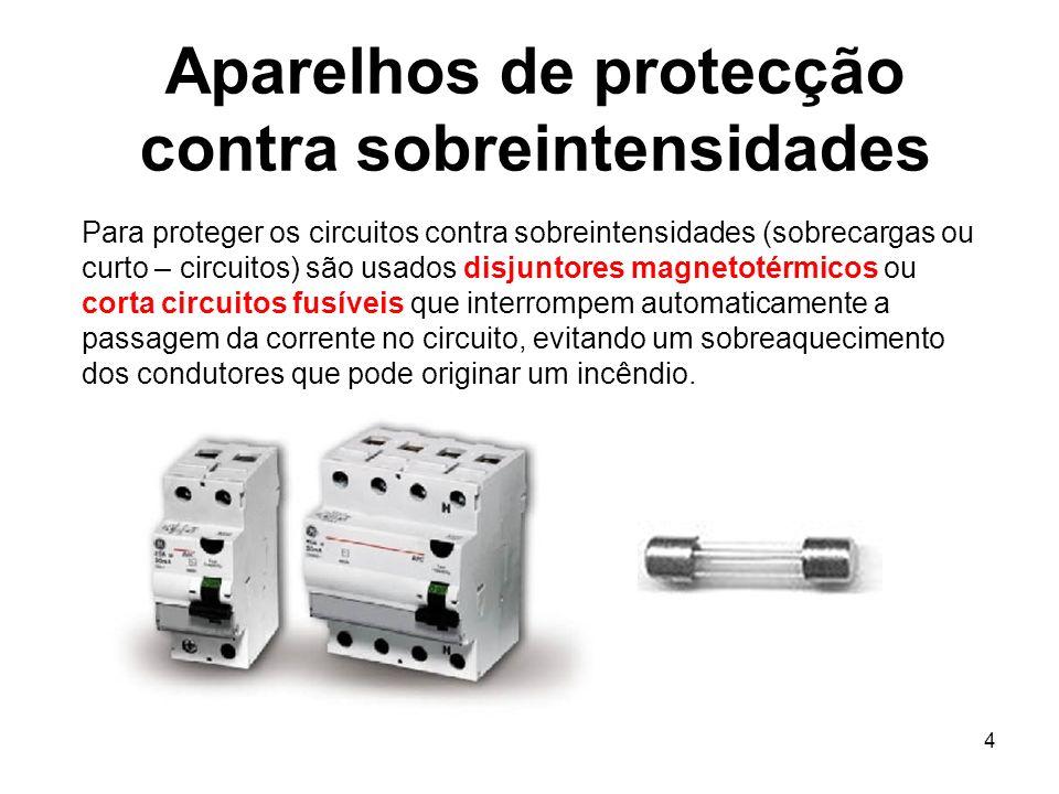 4 Aparelhos de protecção contra sobreintensidades Para proteger os circuitos contra sobreintensidades (sobrecargas ou curto – circuitos) são usados di