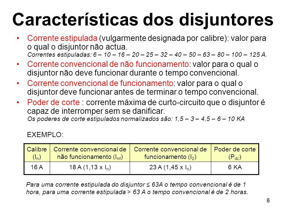 6 Características dos disjuntores Corrente estipulada (vulgarmente designada por calibre): valor para o qual o disjuntor não actua. Correntes estipula