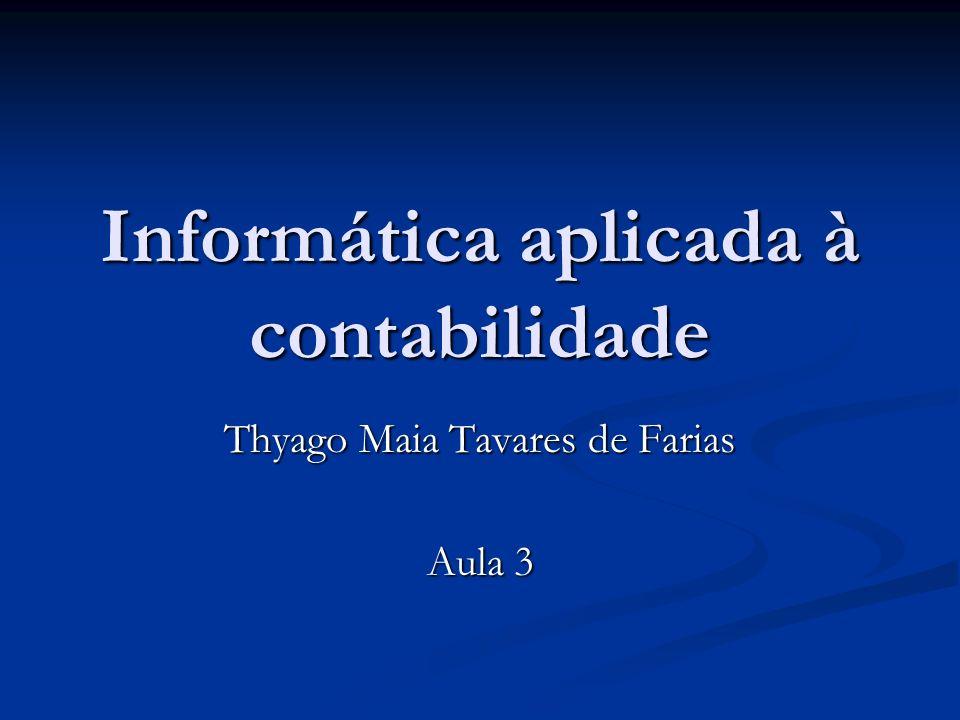 Apresentação Professor: Thyago Maia Tavares de Farias Professor: Thyago Maia Tavares de Farias Mestre em Informática pelo PPGI/DI/UFPB Mestre em Informática pelo PPGI/DI/UFPB Bacharel em Ciência da Computação pela UFPB Bacharel em Ciência da Computação pela UFPB Currículo Lattes: http://lattes.thyagomaia.net Currículo Lattes: http://lattes.thyagomaia.nethttp://lattes.thyagomaia.net E-Mail: contato@thyagomaia.com E-Mail: contato@thyagomaia.comcontato@thyagomaia.com Twitter: http://twitter.com/thyagomaia Twitter: http://twitter.com/thyagomaiahttp://twitter.com/thyagomaia