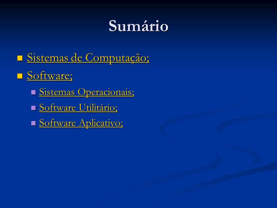 Software Utilitário São programas que preenchem a lacuna entre a funcionalidade de um sistema operacional e as necessidades de um usuário; São programas que preenchem a lacuna entre a funcionalidade de um sistema operacional e as necessidades de um usuário; Para muitos usuários, um computador com um sistema operacional e aplicações básicas é inconveniente; Para muitos usuários, um computador com um sistema operacional e aplicações básicas é inconveniente; Introduzem ao sistema operacional funcionalidades que o mesmo não possui; Introduzem ao sistema operacional funcionalidades que o mesmo não possui;