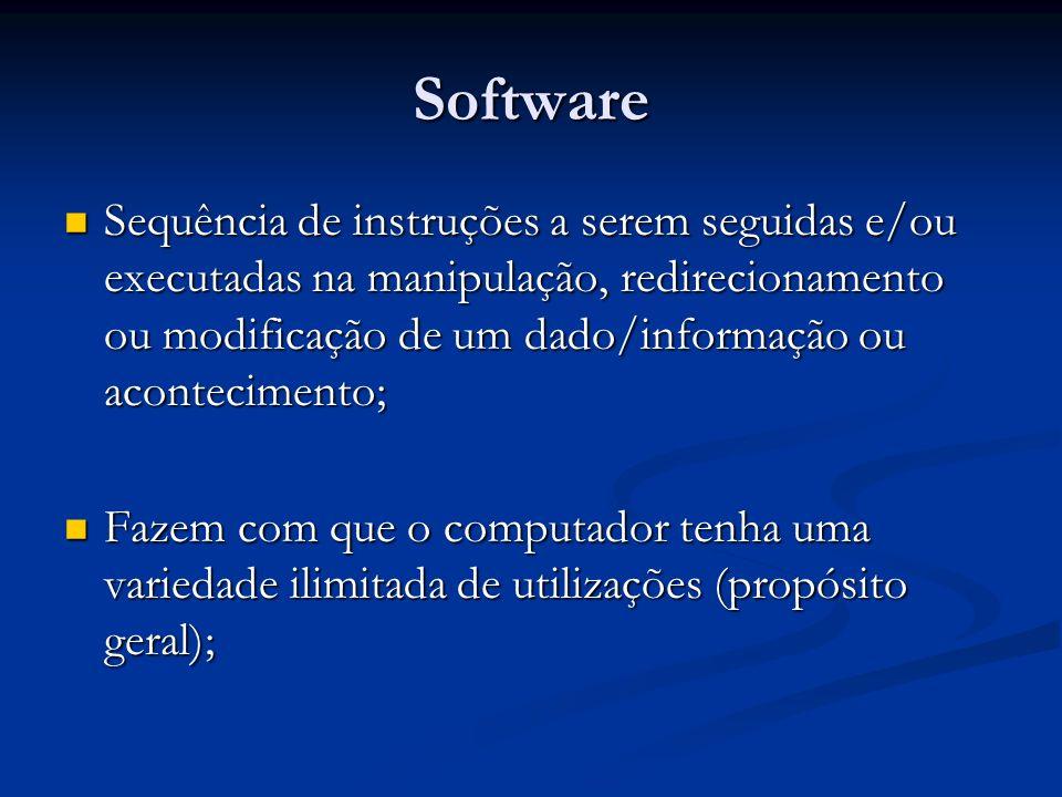 Software Software X Hardware Software X Hardware Software Software Ordena e controla todas as atitudes do hardware; Ordena e controla todas as atitudes do hardware; Maleável – Modificações fáceis, feitas por programadores; Maleável – Modificações fáceis, feitas por programadores; Hardware Hardware Depende do software para funcionar; Depende do software para funcionar; Rígido – Modificações difíceis, feitas pelos fabricantes; Rígido – Modificações difíceis, feitas pelos fabricantes;