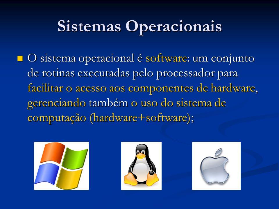 SOs - Exemplos Windows Windows Revolução dos computadores pessoais (PCs); Revolução dos computadores pessoais (PCs); Permite utilizar o microcomputador com maior facilidade, através de uma interface gráfica; Permite utilizar o microcomputador com maior facilidade, através de uma interface gráfica; Metáfora básica: a do desktop – ambiente que lembra uma mesa de trabalho – ferramentas necessárias e outros recursos são sempre visíveis e facilmente acessíveis; Metáfora básica: a do desktop – ambiente que lembra uma mesa de trabalho – ferramentas necessárias e outros recursos são sempre visíveis e facilmente acessíveis;