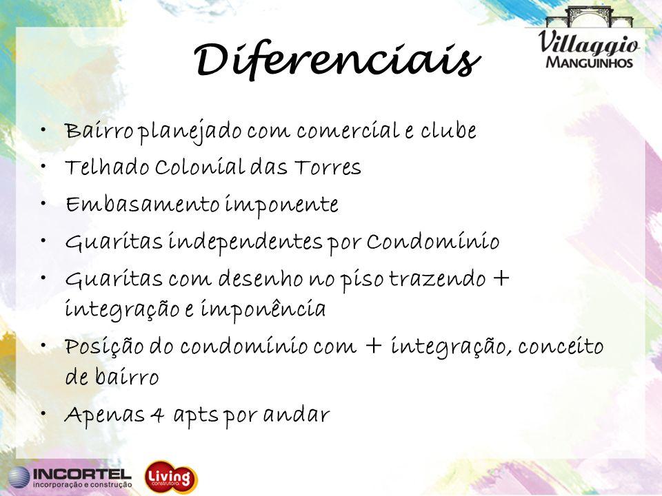 Diferenciais Bairro planejado com comercial e clube Telhado Colonial das Torres Embasamento imponente Guaritas independentes por Condomínio Guaritas c