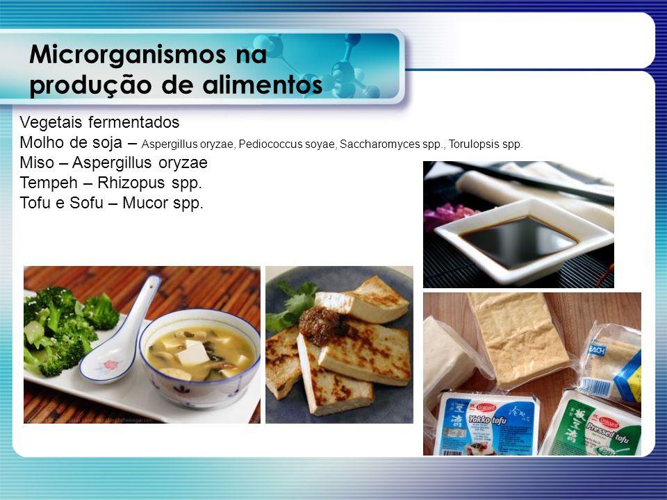 Microrganismos na produção de alimentos Vegetais fermentados Molho de soja – Aspergillus oryzae, Pediococcus soyae, Saccharomyces spp., Torulopsis spp