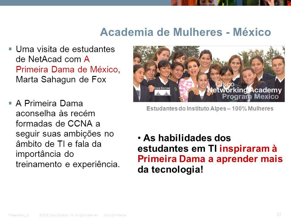 © 2006 Cisco Systems, Inc. All rights reserved.Cisco ConfidentialPresentation_ID 23 Academia de Mulheres - México Uma visita de estudantes de NetAcad