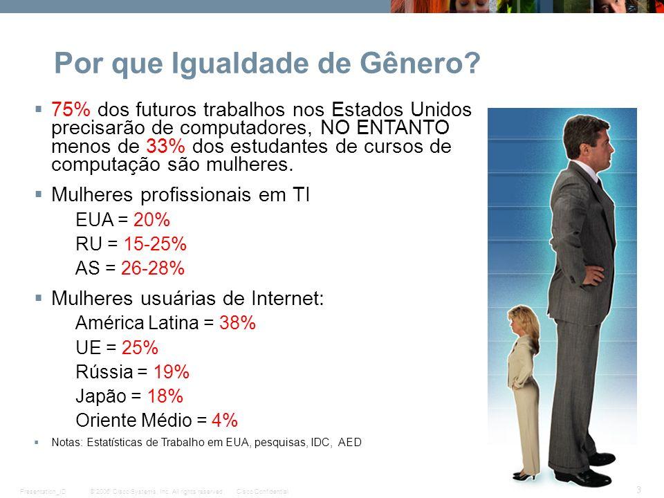 © 2006 Cisco Systems, Inc. All rights reserved.Cisco ConfidentialPresentation_ID 3 Por que Igualdade de Gênero? 75% dos futuros trabalhos nos Estados