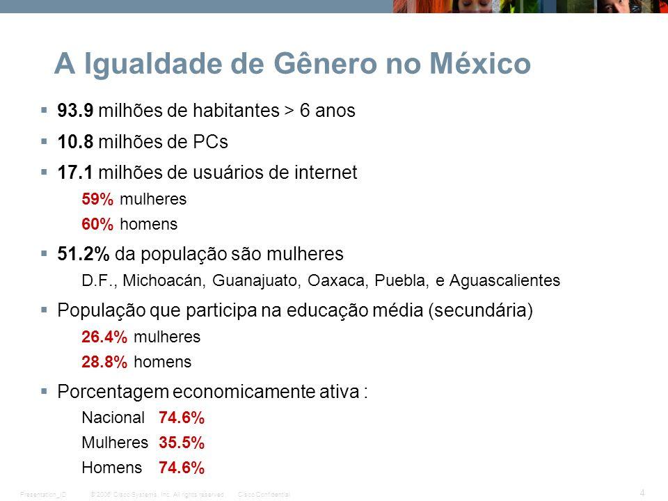 © 2006 Cisco Systems, Inc. All rights reserved.Cisco ConfidentialPresentation_ID 4 A Igualdade de Gênero no México 93.9 milhões de habitantes > 6 anos