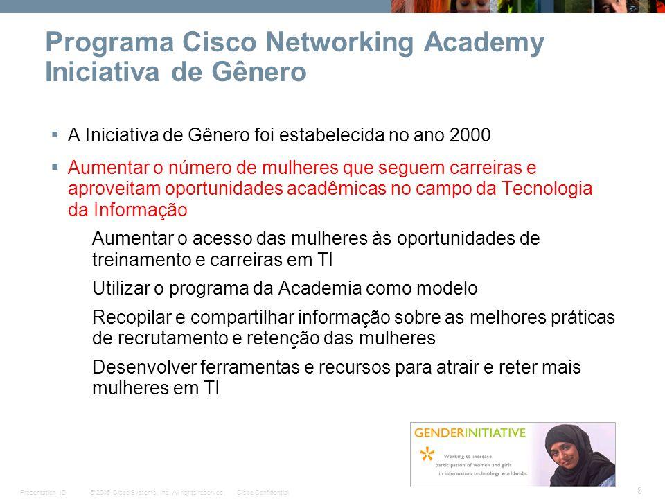 © 2006 Cisco Systems, Inc. All rights reserved.Cisco ConfidentialPresentation_ID 8 Programa Cisco Networking Academy Iniciativa de Gênero A Iniciativa