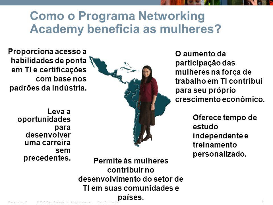 © 2006 Cisco Systems, Inc. All rights reserved.Cisco ConfidentialPresentation_ID 9 Como o Programa Networking Academy beneficia as mulheres? Proporcio