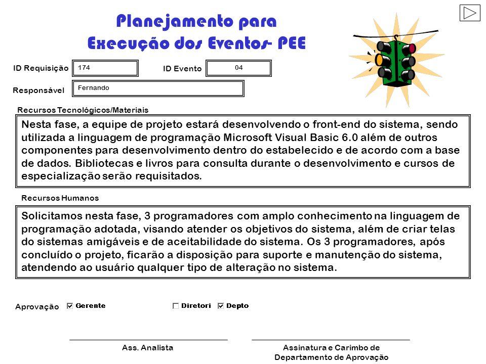 Planejamento para Execução dos Eventos-PEE ID Requisição 174 ID Evento 03 Ass. AnalistaAssinatura e Carimbo de Departamento de Aprovação Recursos Tecn