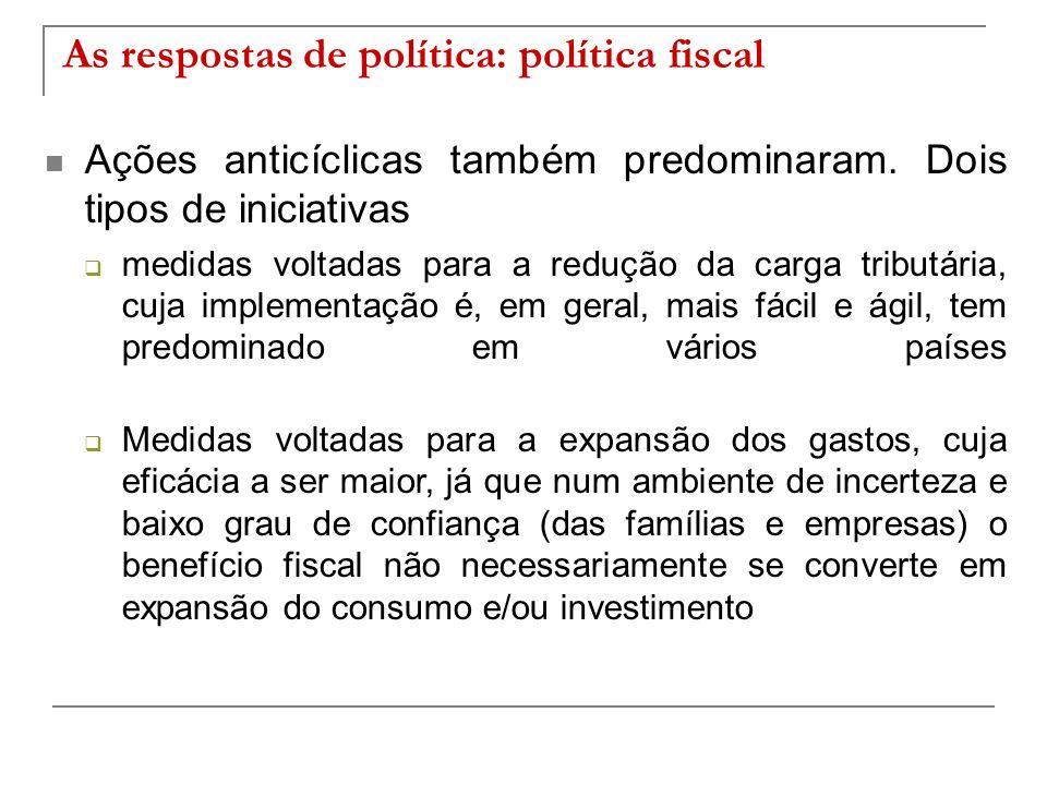 As respostas de política: política fiscal Ações anticíclicas também predominaram. Dois tipos de iniciativas medidas voltadas para a redução da carga t