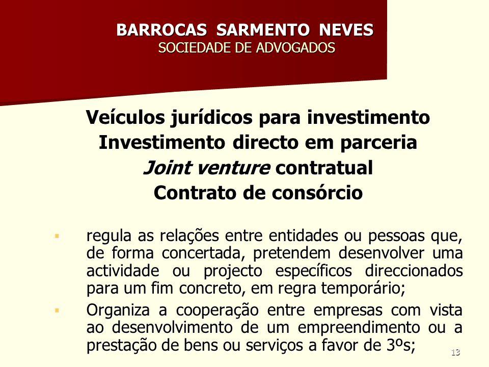 13 BARROCAS SARMENTO NEVES SOCIEDADE DE ADVOGADOS Veículos jurídicos para investimento Investimento directo em parceria Joint venture contratual Contr