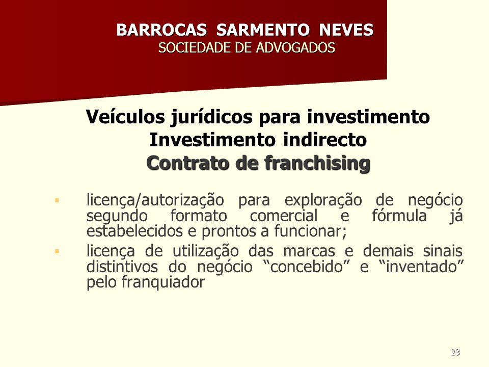 23 BARROCAS SARMENTO NEVES SOCIEDADE DE ADVOGADOS Veículos jurídicos para investimento Investimento indirecto Contrato de franchising licença/autoriza