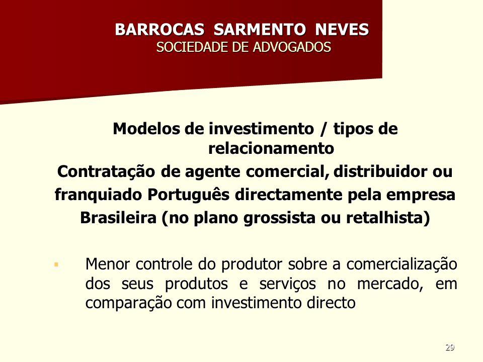 29 BARROCAS SARMENTO NEVES SOCIEDADE DE ADVOGADOS Modelos de investimento / tipos de relacionamento Contratação de agente comercial, distribuidor ou f
