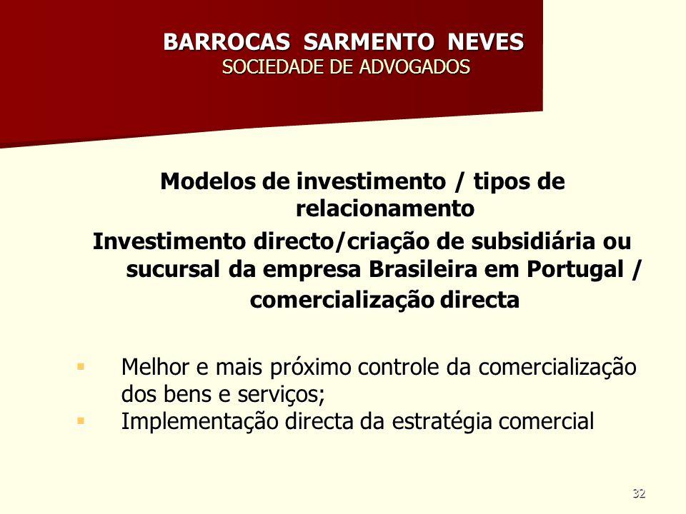 32 BARROCAS SARMENTO NEVES SOCIEDADE DE ADVOGADOS Modelos de investimento / tipos de relacionamento Investimento directo/criação de subsidiária ou suc