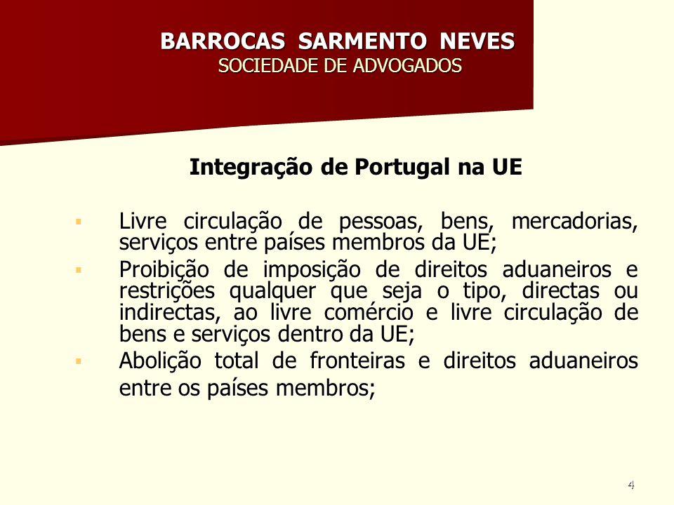 4 BARROCAS SARMENTO NEVES SOCIEDADE DE ADVOGADOS Integração de Portugal na UE Livre circulação de pessoas, bens, mercadorias, serviços entre países me