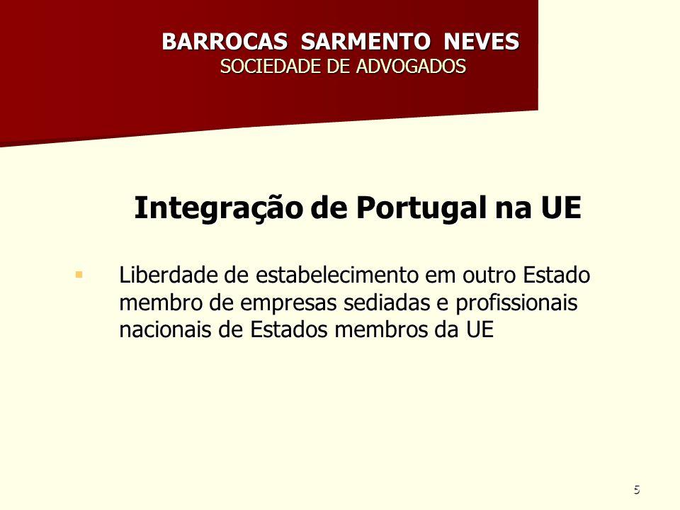 6 BARROCAS SARMENTO NEVES SOCIEDADE DE ADVOGADOS Integração de Portugal na UE Convergência, uniformização e harmonização legislativa (Tratados da UE, Regulamentos, Directivas, decisões da Comissão) e juruisprudência dos Tribunais da Comunidade; Convergência, uniformização e harmonização legislativa (Tratados da UE, Regulamentos, Directivas, decisões da Comissão) e juruisprudência dos Tribunais da Comunidade; Áreas: ex.
