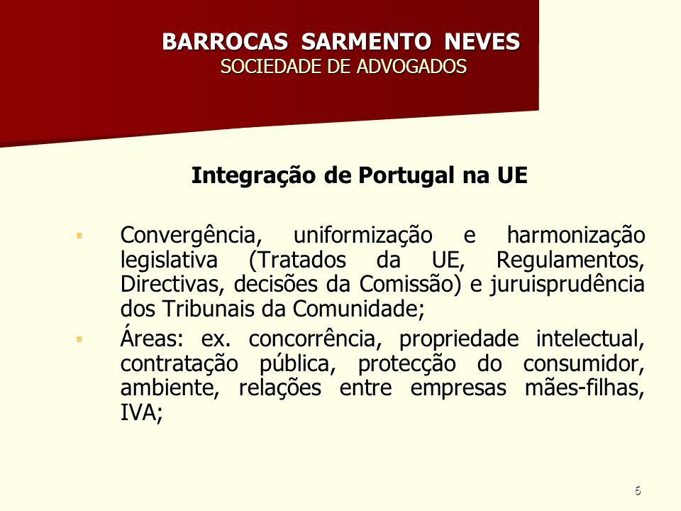 6 BARROCAS SARMENTO NEVES SOCIEDADE DE ADVOGADOS Integração de Portugal na UE Convergência, uniformização e harmonização legislativa (Tratados da UE,