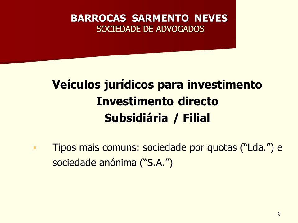 9 BARROCAS SARMENTO NEVES SOCIEDADE DE ADVOGADOS Veículos jurídicos para investimento Investimento directo Subsidiária / Filial Tipos mais comuns: soc