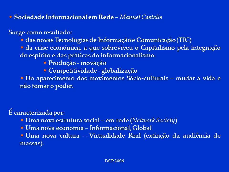 DCP 2006 Sociedade Informacional em Rede – Manuel Castells Surge como resultado: das novas Tecnologias de Informação e Comunicação (TIC) da crise econ