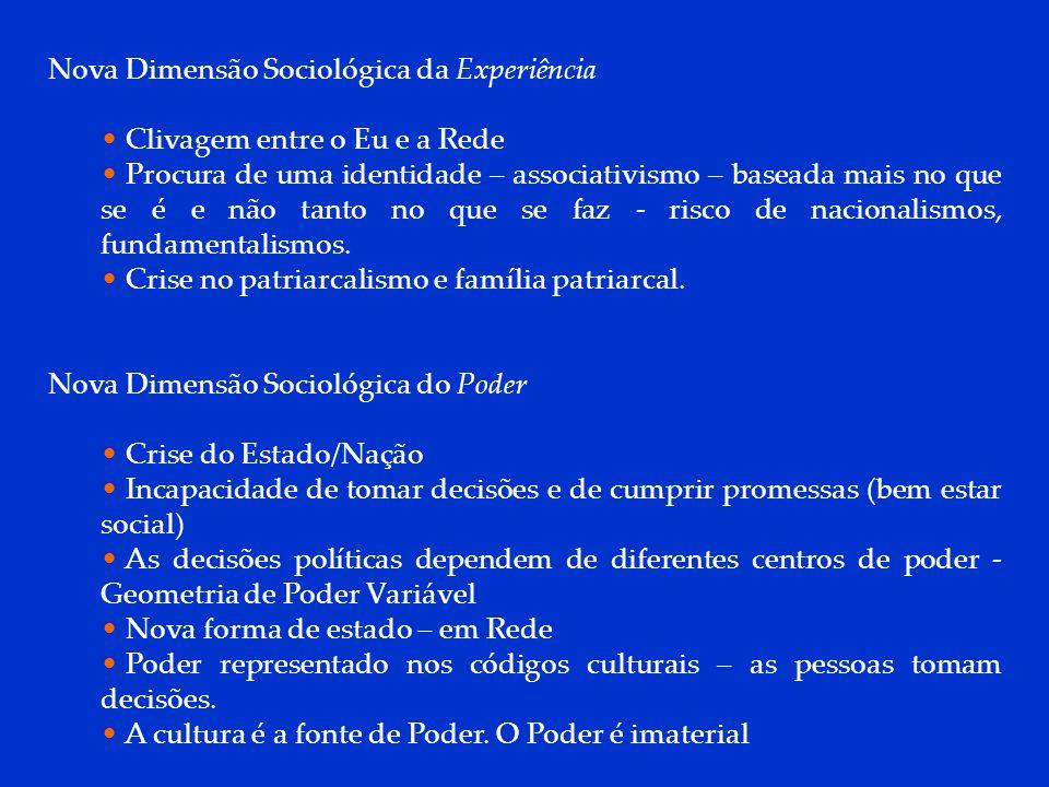 DCP 2006 Nova Dimensão Sociológica da Experiência Clivagem entre o Eu e a Rede Procura de uma identidade – associativismo – baseada mais no que se é e