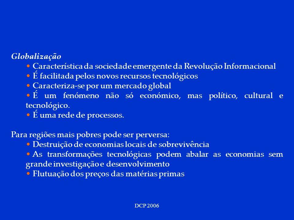 DCP 2006 Globalização Característica da sociedade emergente da Revolução Informacional É facilitada pelos novos recursos tecnológicos Caracteriza-se p