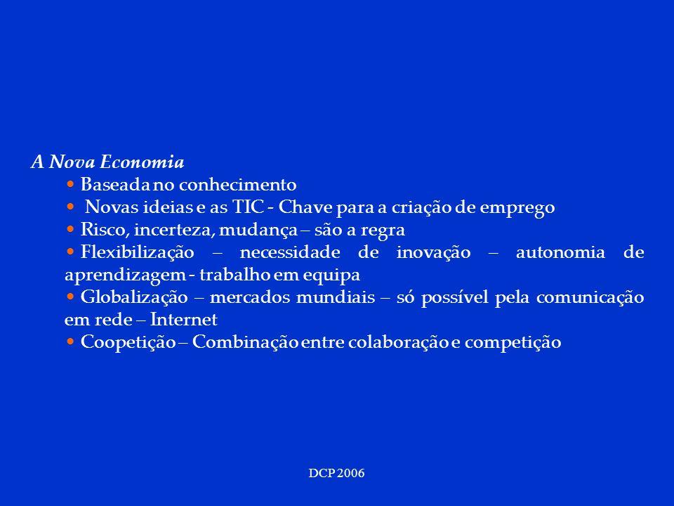 DCP 2006 A Nova Economia Baseada no conhecimento Novas ideias e as TIC - Chave para a criação de emprego Risco, incerteza, mudança – são a regra Flexi
