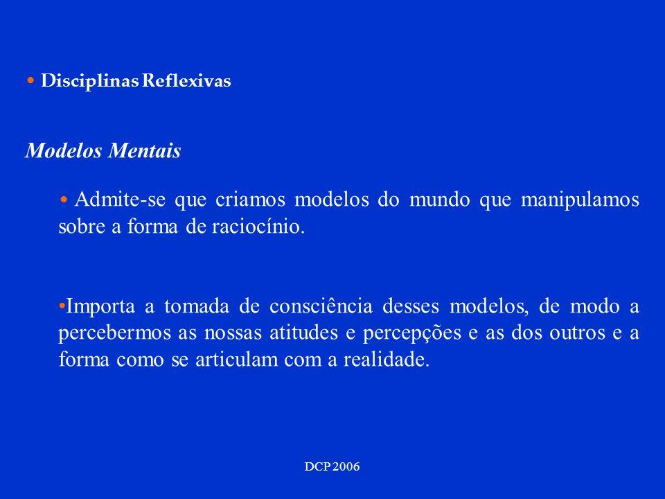 DCP 2006 Disciplinas Reflexivas Modelos Mentais Admite-se que criamos modelos do mundo que manipulamos sobre a forma de raciocínio. Importa a tomada d