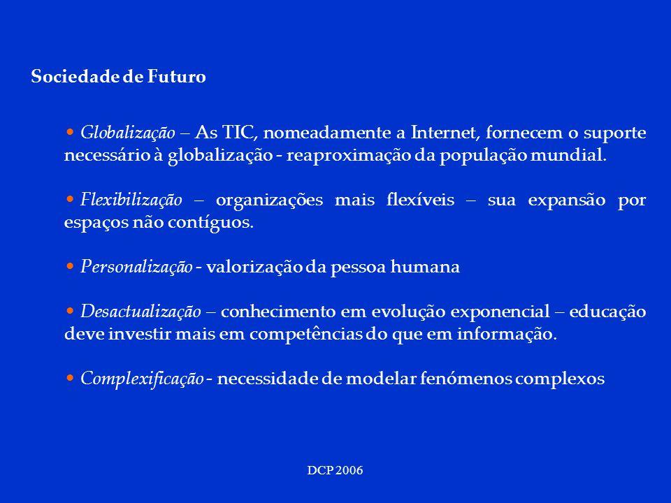 DCP 2006 Sociedade de Futuro Globalização – As TIC, nomeadamente a Internet, fornecem o suporte necessário à globalização - reaproximação da população
