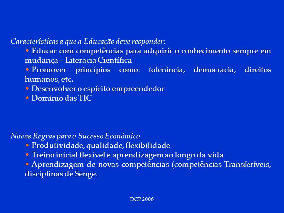 DCP 2006 Características a que a Educação deve responder: Educar com competências para adquirir o conhecimento sempre em mudança – Literacia Científic