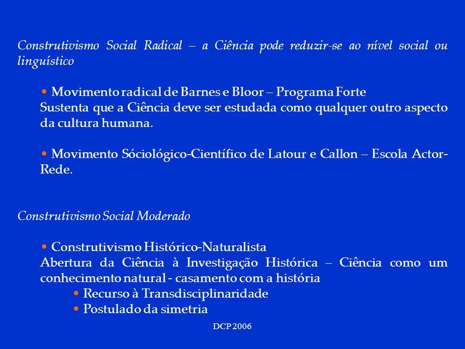 DCP 2006 Construtivismo Social Radical – a Ciência pode reduzir-se ao nível social ou linguístico Movimento radical de Barnes e Bloor – Programa Forte
