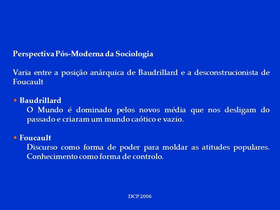 DCP 2006 Perspectiva Pós-Moderna da Sociologia Varia entre a posição anárquica de Baudrillard e a desconstrucionista de Foucault Baudrillard O Mundo é