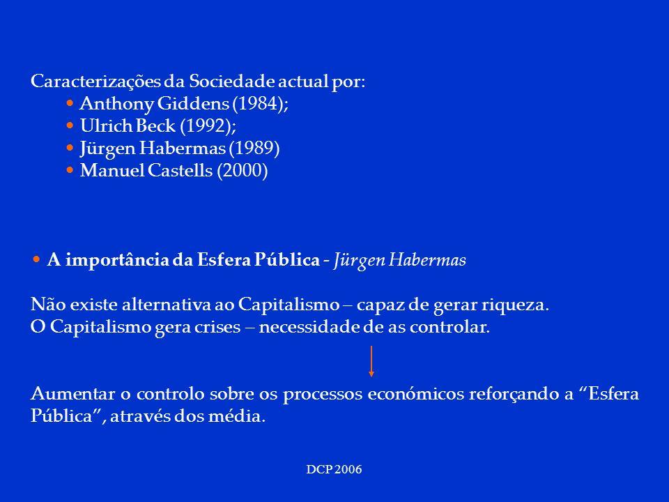 DCP 2006 Caracterizações da Sociedade actual por: Anthony Giddens (1984); Ulrich Beck (1992); Jürgen Habermas (1989) Manuel Castells (2000) A importân