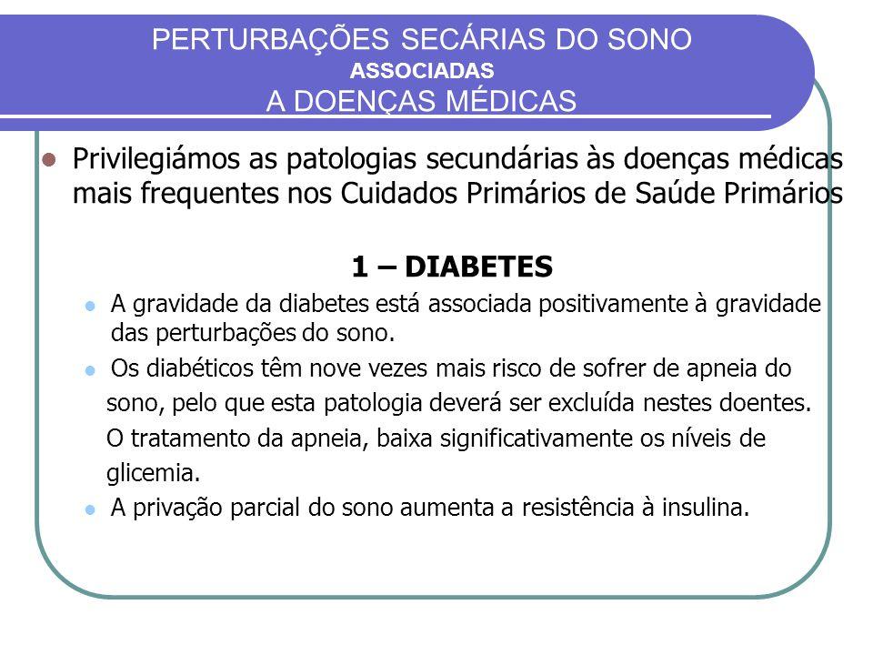 PERTURBAÇÕES SECÁRIAS DO SONO ASSOCIADAS A DOENÇAS MÉDICAS Privilegiámos as patologias secundárias às doenças médicas mais frequentes nos Cuidados Pri