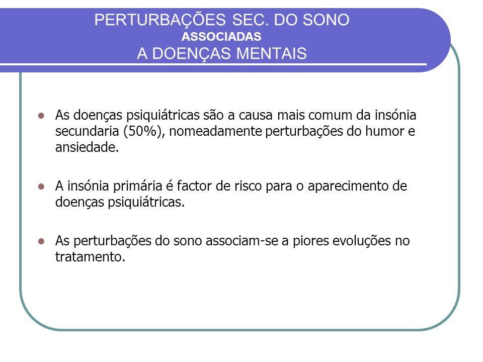 PERTURBAÇÕES SEC. DO SONO ASSOCIADAS A DOENÇAS MENTAIS As doenças psiquiátricas são a causa mais comum da insónia secundaria (50%), nomeadamente pertu