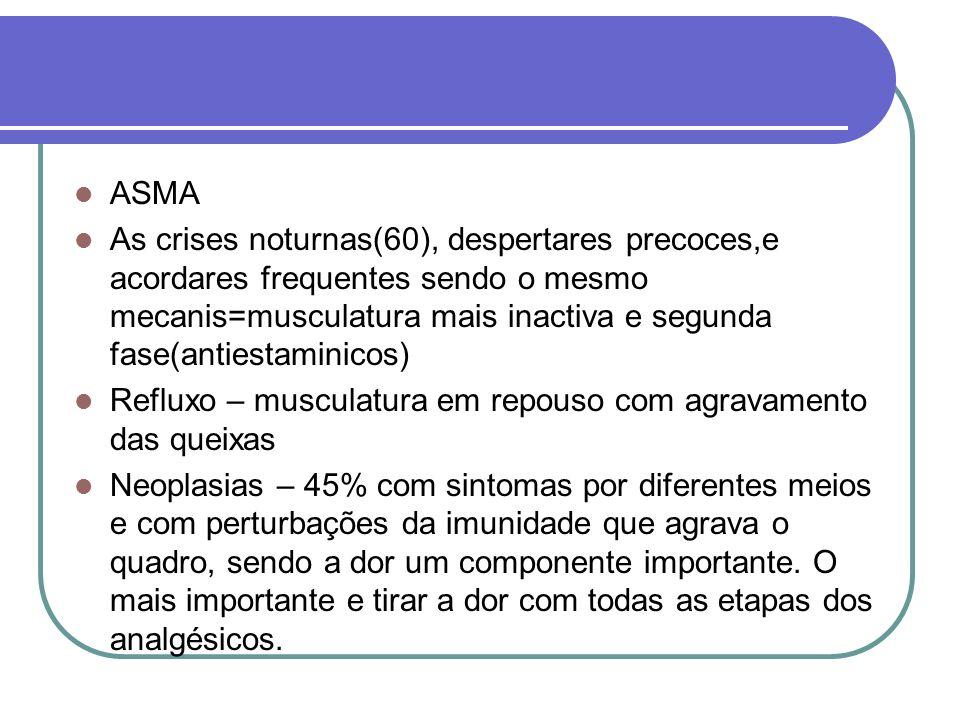 ASMA As crises noturnas(60), despertares precoces,e acordares frequentes sendo o mesmo mecanis=musculatura mais inactiva e segunda fase(antiestaminico