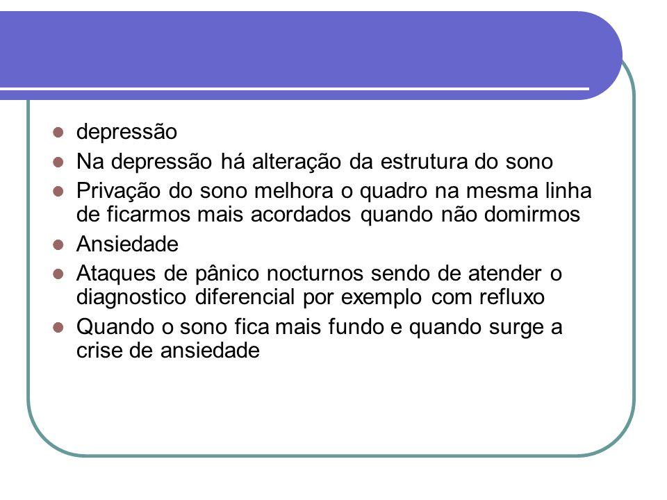 depressão Na depressão há alteração da estrutura do sono Privação do sono melhora o quadro na mesma linha de ficarmos mais acordados quando não domirm