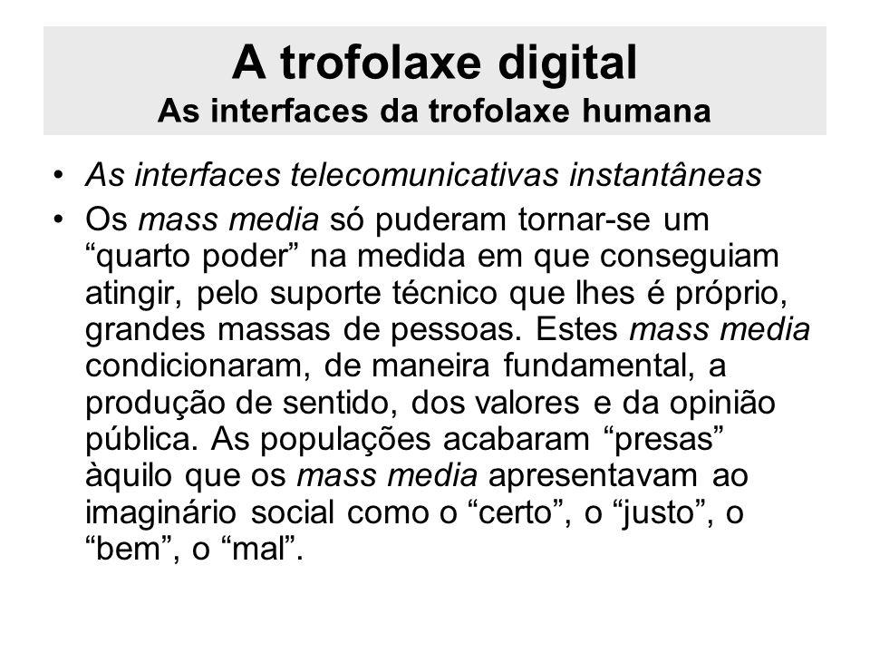 A trofolaxe digital As interfaces da trofolaxe humana As interfaces telecomunicativas instantâneas Os mass media só puderam tornar-se um quarto poder