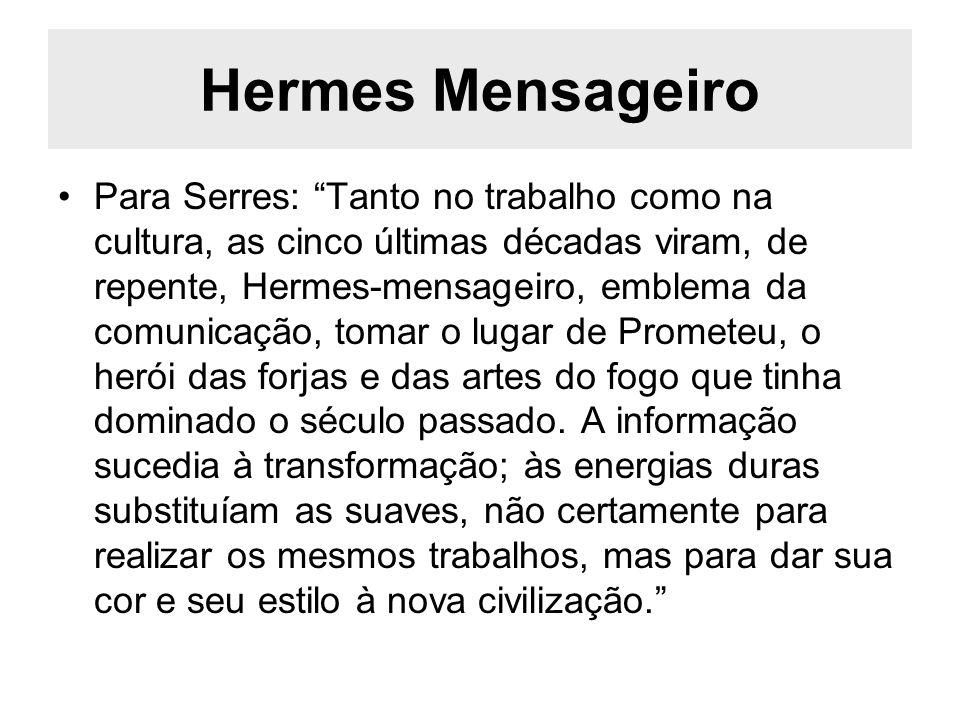 Hermes Mensageiro Para Serres: Tanto no trabalho como na cultura, as cinco últimas décadas viram, de repente, Hermes-mensageiro, emblema da comunicaçã